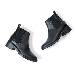 [Zara] Black Flat Leather Chelsea Ankle Boot